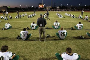 <p>Basha's warms-up before meeting Hamilton, Friday, Oct. 11, 2013 at Hamilton. [Jerry Burch/Special to Tribune]</p>