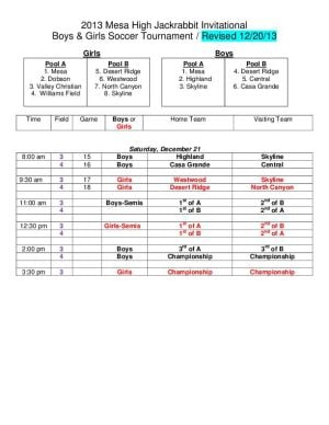 UPDATED Mesa Jackrabbit Invite soccer tournament schedule 2013