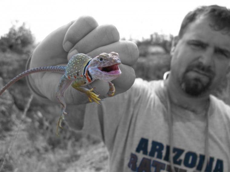 Wildman Phil and a lizard