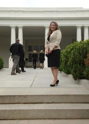 Nanciei Lindblom on White House steps