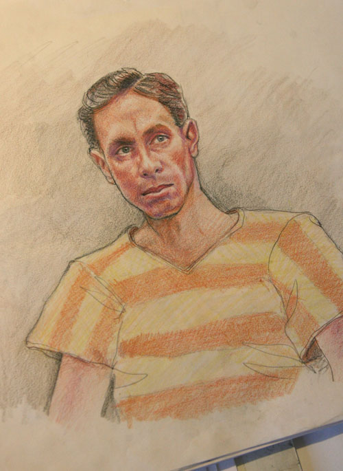 Maggie Keane sketch of Warren Jeffs