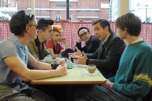"<p>Freddie Fox as Jeff, Ben Schnetzer as Mark, Faye Marsay as Steph, Joseph Gilgun as Mike, Paddy Considine as Dai and George MacKay as Joe in a scene from ""Pride.""  [Nicola Dove/by CBS Films]</p>"