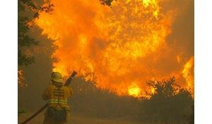 Thousands flee southern California blaze
