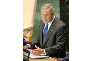 Bush urges world to unite with Iraq