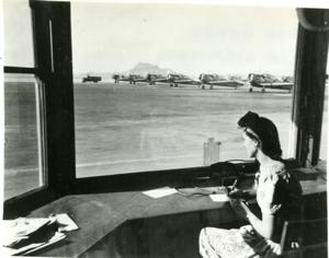 Women at work at airfield