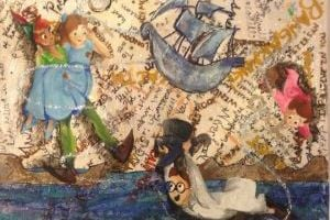 <p>This Peter Pan-themed work by Allison Bauer will be available at the ASU Student Art Market</p>