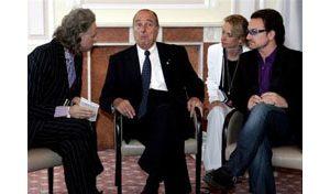 Chirac meets with Geldof, Bono