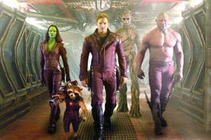 "<p>This image released by Disney - Marvel shows, from left, Zoe Saldana, the character Rocket Racoon, voiced by Bradley Cooper, Chris Pratt, the character Groot, voiced by Vin Diesel and Dave Bautista in a scene from ""Guardians Of The Galaxy.""</p>"