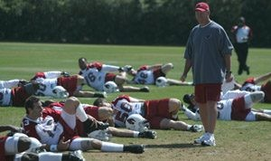 Cards hold first practice under Whisenhunt