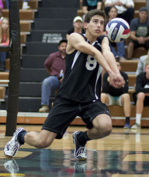 Volleyball: Highland Vs Perry: Highland's Jayce Ashment (8) hits the ball during the volleyball game between Highland and Perry at Highland High School on Thursday, April 17, 2014. - [David Jolkovski/Tribune]