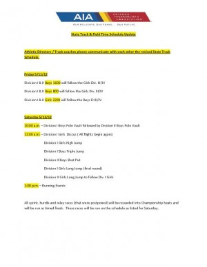 Track and Field state championship schedules