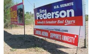 GOP spins Democrat's signs