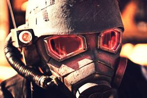 <p>Costume designer Allen Amis as video game character, NCR Ranger</p>
