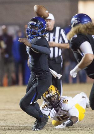 <p>Chandler quarterback Bryce Perkins (3) passes the ball during the DI semifinals football game between Mountain Pointe and Chandler at Hamilton High School on Friday, Nov. 21, 2014.</p>