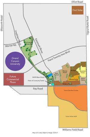 Map of Eastmark and future site for Grand Canyon University's Mesa campus