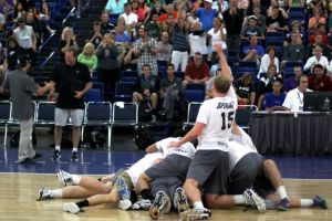 <p>Spiral players dogpile on each other after winning their national title. [Submitted photo]</p>