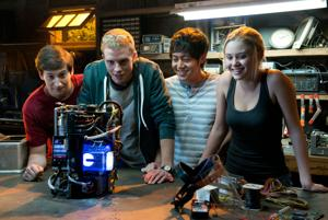 "<p>From left, Sam Lerner as Quinn Goldberg, Jonny Weston as David Raskin, Allen Evangelista as Adam Le, and Virginia Gardner as Christina Raskin , in a scene from the film, ""Project Almanac."" [Guy D'Alema/AP Photo]</p>"