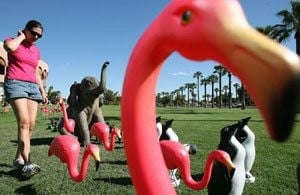 Animal lawn decorations among public art exhibit