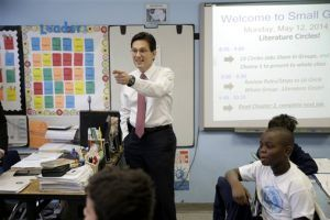 <p>House Majority Leader Eric Cantor visits with students at the Bronx Charter School of Excellence in New York, Monday, May 12, 2014. Cantor visited the New York City charter school as part of his national education policy tour. (AP Photo)</p>