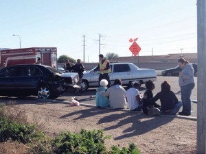 Car collision on Pecos Road
