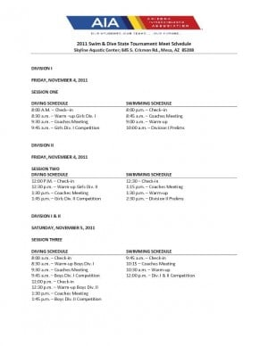 Swimming and Diving Schedule