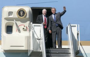 Bush right behind Kerry on tour of Southwest