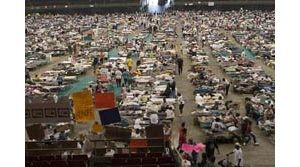 Hurricane Katrina evacuees at Houston Astrodome