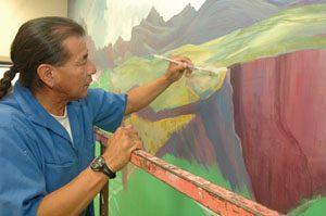 Navajo's mural brightens cafeteria