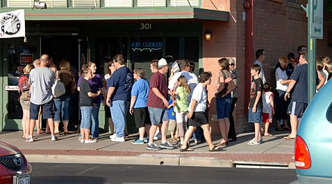 How long did line get at Joe's Real BBQ?