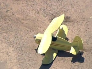 Biplane makes hard landing at Chandler airport