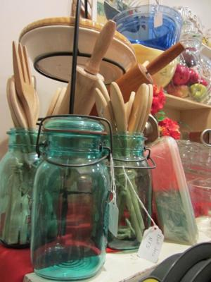 Ball jars, wood utensils and rolling pins-kitchen section