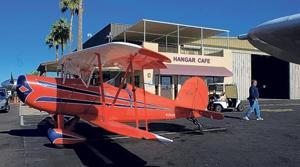 Cafe's patrons park their planes at the door