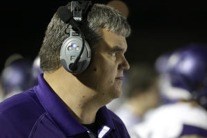 <p>Queen Creek head coach Travis Schureman, Monday, November 25, 2013 at Campo Verde. [Jerry Burch/ Special to Tribune]</p>