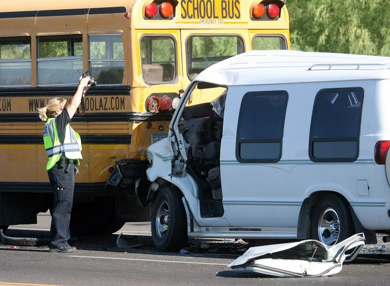 Van into Bus accident 