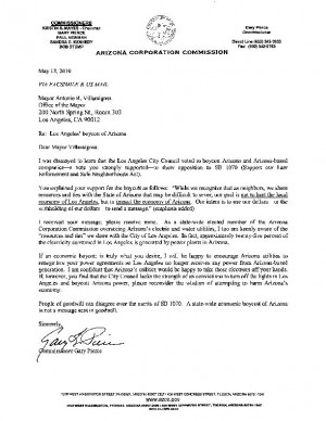 Pierce's letter to Villaraigosa