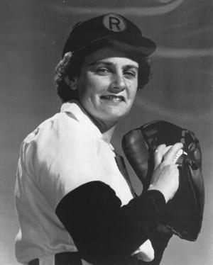 """Helen Nicol """"Nickie"""" Fox in uniform with the Rockford Peaches"""