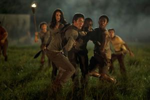 "<p>From foreground left, Kaya Scoderlario, Dylan O'Brien, Aml Ameen and Jacob Latimore appear in a scene from ""The Maze Runner.""</p>"