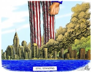 <p>This Tribune illustration by Mike Ritter drew national attention when it was originally published in the aftermath of 9/11. Ten years later, it still seems to capture America's sentiments.</p>