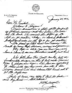 Gov. Jan Brewer's handwritten letter to President Obama