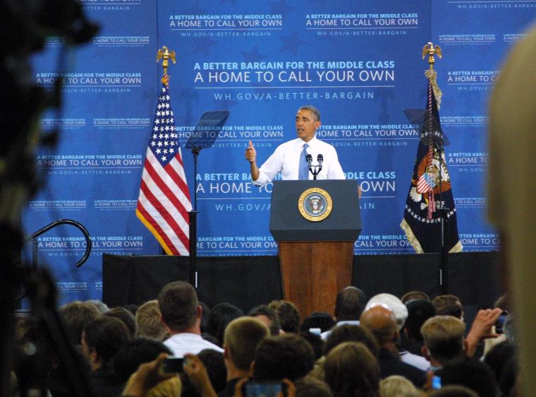 President Barack Obama speaks at Desert Vista High School