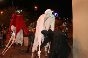 Stilt walkers at 2nd Saturdays Downtown