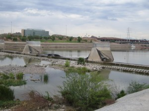 Burst dam at Tempe Town lake