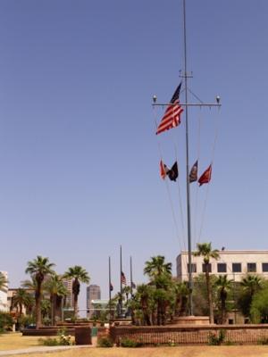 USS Arizona signal mast at Wesley Bolin Plaza