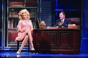 "<p>Diana DeGarmo as Doralee and Joseph Mahowald as Franklin Hart Jr. share a scene during a performance of ""9 to 5: The Musical"" at ASU Gammage.</p>"