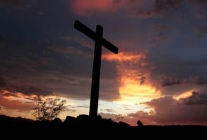 Photo: Mountain cross at sunset