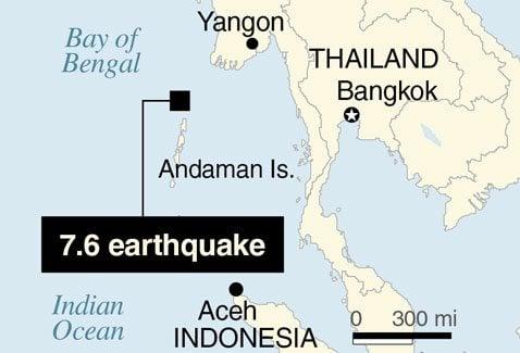 USGS: Huge earthquake hits in Indian Ocean