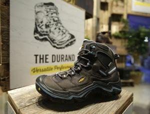 <p>This Jan. 23, 2015 photo shows the Durand shoe displayed at the Keen booth at the Outdoor Retailer Show in Salt Lake City. These days, footwear options for long-distance hikers abound. Denise Friend, a footwear expert and merchandising manager for the outdoor retail supplier REI, said a common mistake among newbies is not choosing the right footwear for the right activity: short hike vs. backpacking trip, for instance, along with incline, season and terrain. (AP Photo/Rick Bowmer)</p>