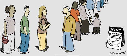 Editorial Cartoon: Long lines for E.V. voters