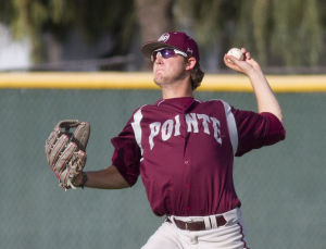 Baseball: Hamilton Vs Mountain Pointe: Mountain Pointe's Jake Alexander (22) throws the ball to the infield during the baseball game between Hamilton and Mountain Pointe at Hamilton High School on Friday, April 11, 2014. - [David Jolkovski/Tribune]