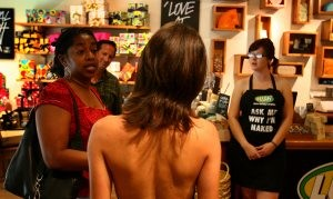 Store employees undress for environment